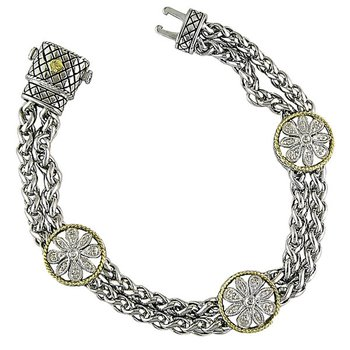 18kt and Sterling Silver Diamond Round Flower Pattern Bracelet