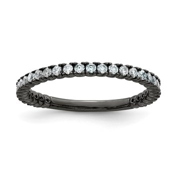 Sterling Silver Ruthenium-plated 28 Stone CZ Ring