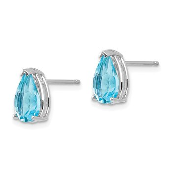14k White Gold 9x6mm Blue Topaz Earrings