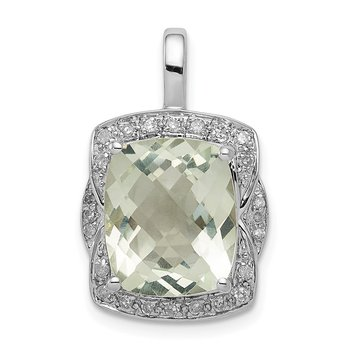 Sterling Silver Rhodium-plated Diamond Green Quartz Pendant