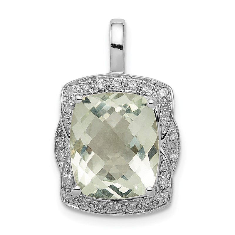 Quality Gold Sterling Silver Rhodium-plated Diamond Green Quartz Pendant