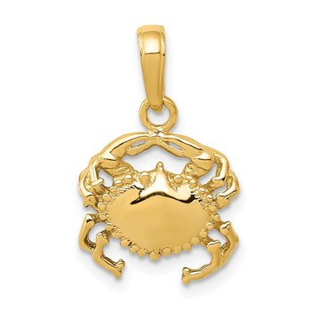 14k Solid Polished Open-Backed Crab Pendant