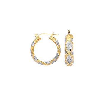 10K Gold Diamond Cut X Hinged Hoop Earring