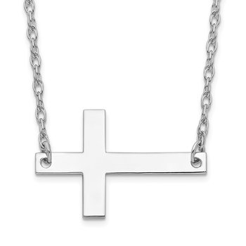 Sterling Silver Rhodium-plated Large Sideways Cross Necklace