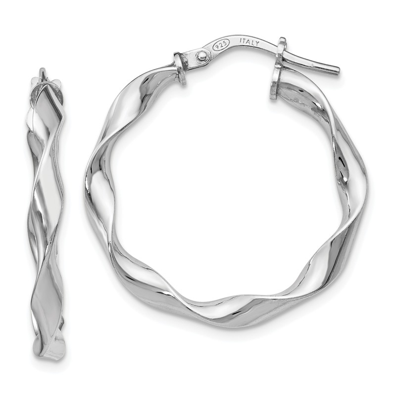 925 Sterling Silver Polished /& Textured Twisted Hoop Earrings