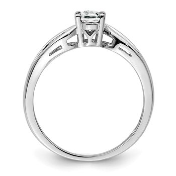 Sterling Silver Rhodium-plated White Topaz Ring