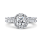 Promezza Round Cut Double Halo Diamond Engagement Ring In 14K White Gold