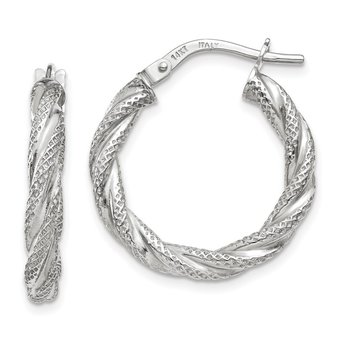 14K White Gold Twisted Textured Hoop Earrings