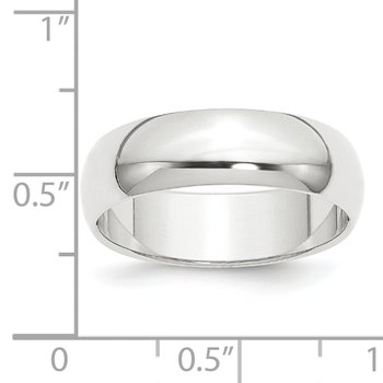 Platinum 8mm Half-Round Featherweight Band