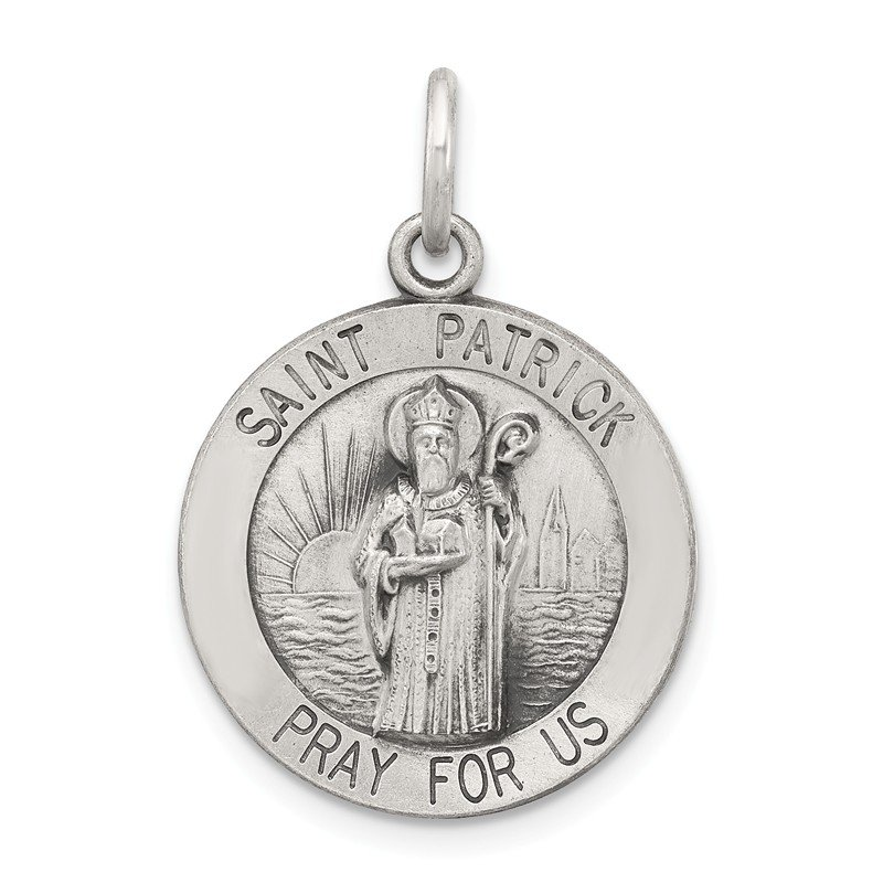 Quality Gold Sterling Silver Antiqued Saint Patrick Medal