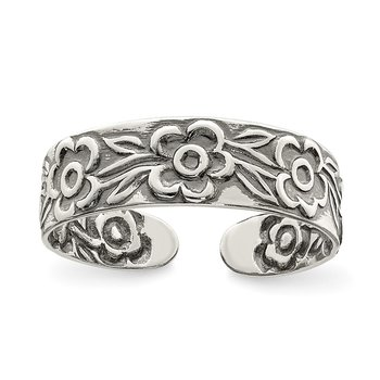 Sterling Silver Antiqued Flowers Toe Ring