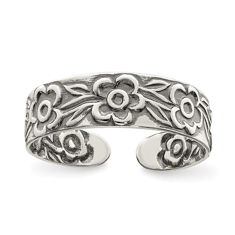 Quality Gold Sterling Silver Antiqued Flowers Toe Ring