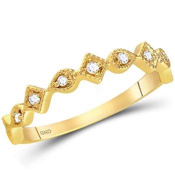 14kt Yellow Gold Womens Round Diamond Squares Stackable Band Ring 1/10 Cttw
