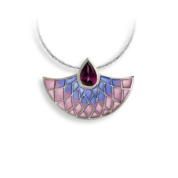 Purple Art Deco Fan Necklace.Sterling Silver-Rhodolite - Plique-a-Jour
