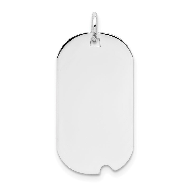 Quality Gold 14k White Gold Plain .018 Gauge Engravable Dog Tag w/Notch Disc