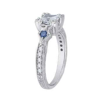 18K White Gold Princess Diamond Engagement Ring with Sapphire (Semi-Mount)