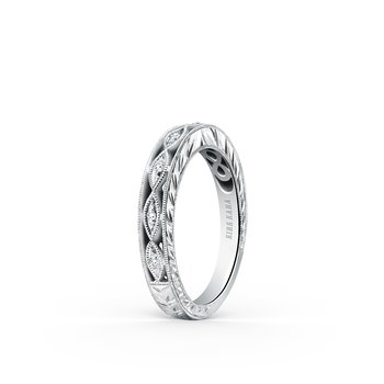 Intricate Engraved Diamond Wedding Band