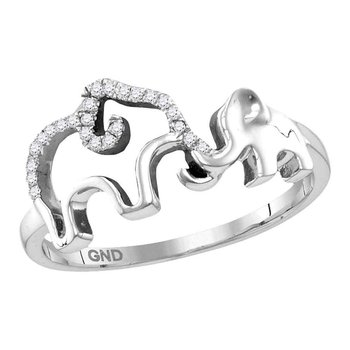 Sterling Silver Womens Round Diamond Double Elephant Animal Band Ring 1/20 Cttw