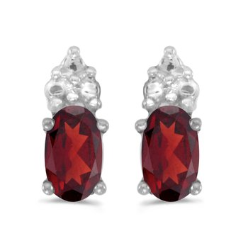 14k White Gold Oval Garnet Earrings