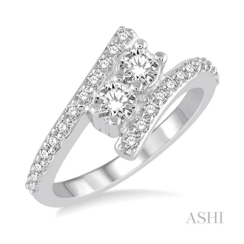 ASHI 2stone diamond ring