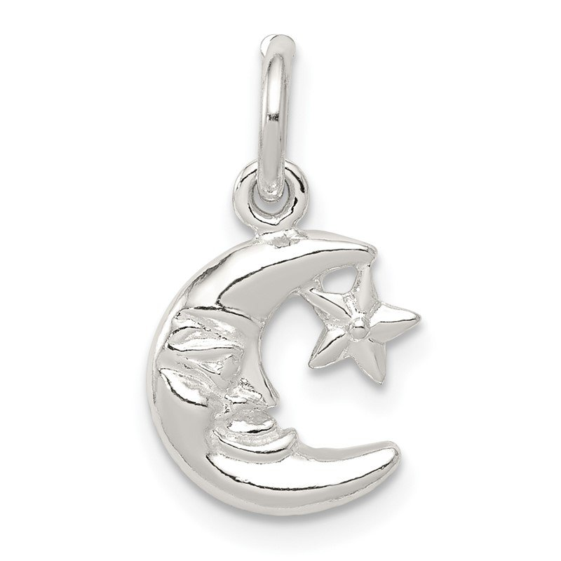 Quality Gold Sterling Silver Moon & Star Charm