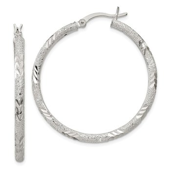 Sterling Silver 2.5mm Diamond-cut Laser-cut Hinged Hoop Earrings