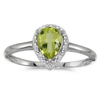 10k White Gold Pear Peridot And Diamond Ring