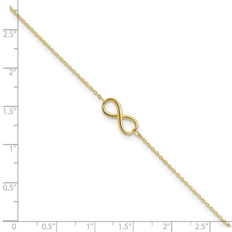 Leslie's Leslie's 10K Polished Infinity with 1in ext. Anklet
