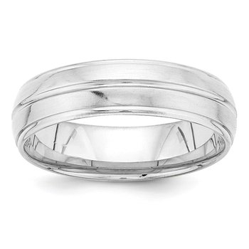 14k White Gold Standard Comfort Fit Brush Satin Fancy Band
