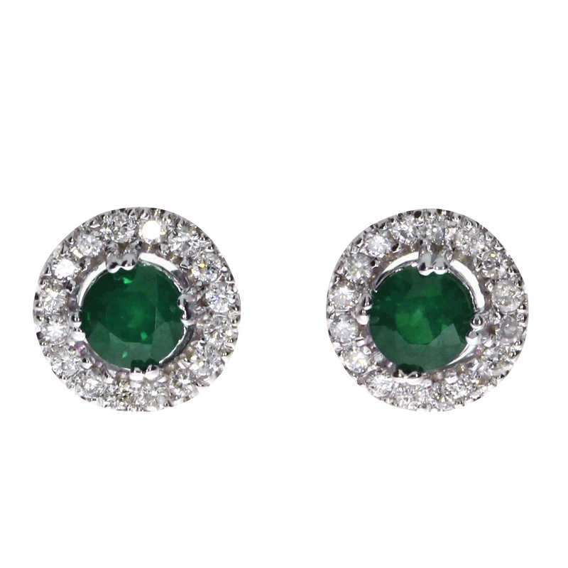 Color Merchants 14k White Gold Emerald and Diamond Halo Earrings