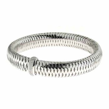 Flexible Bangle With Diamonds &Ndash; 18K White Gold
