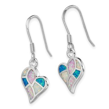 Sterling Silver Rhodium White/Pink/Blue Created Opal Heart Earrings