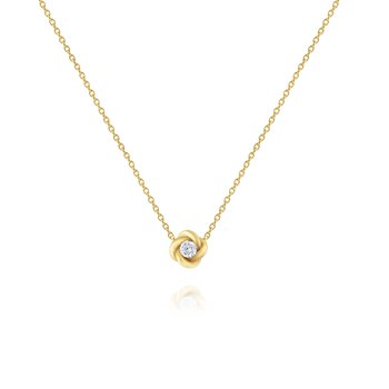 Diamond Solitaire Necklace in 14 Kt. Gold Twist Setting