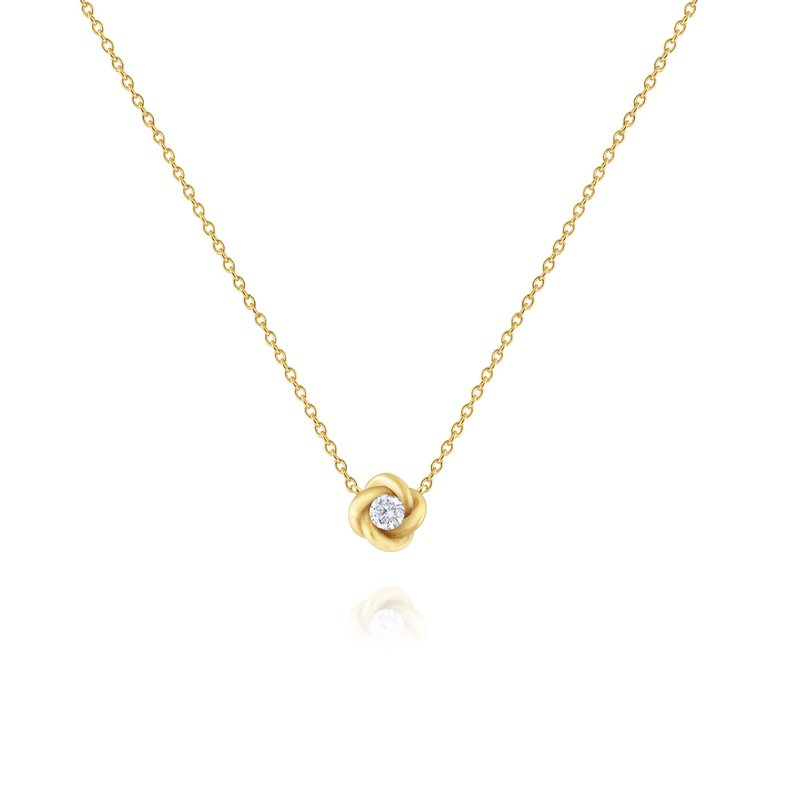 KC Designs Diamond Solitaire Necklace in 14 Kt. Gold Twist Setting