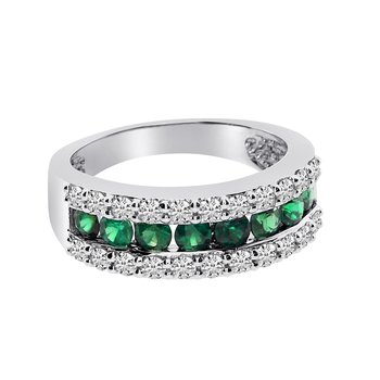 14k White Gold Wide Emerald Ring