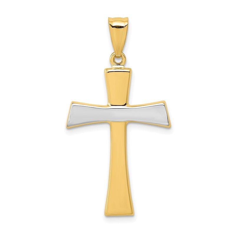 Quality Gold 14Kw/Rhodium Polished Cross Pendant