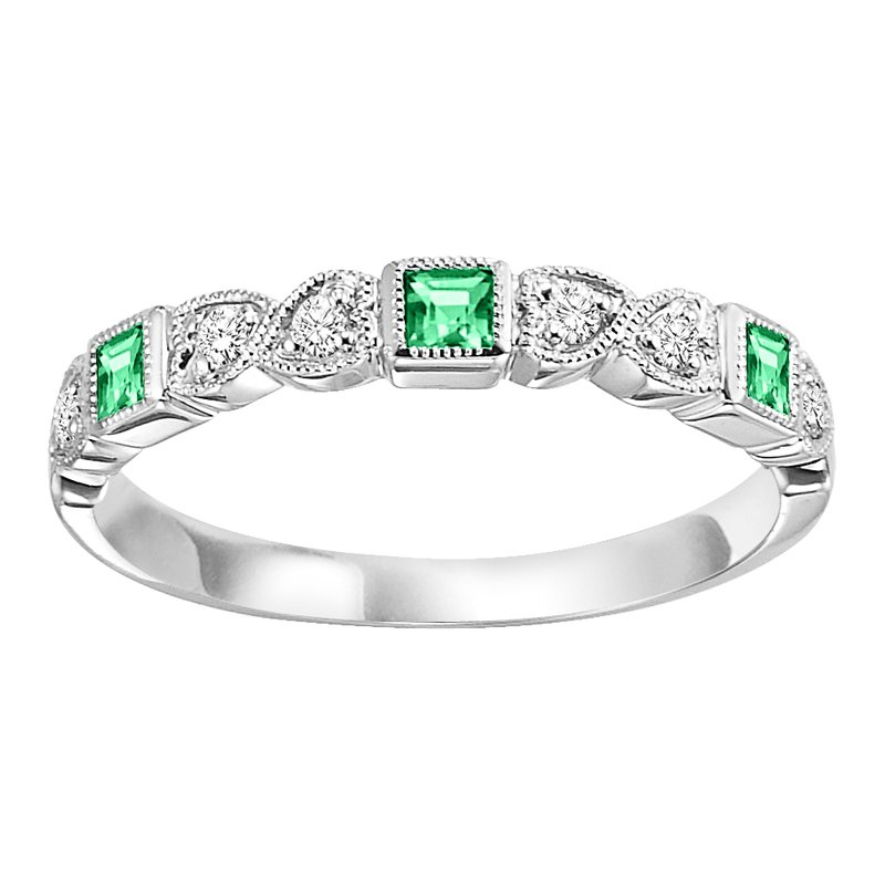 Mixables 10K Emerald & Diamond Mixable Ring