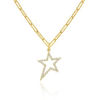 "14k Gold and Diamond Open Star Necklace on 18"" Paperclip chain"