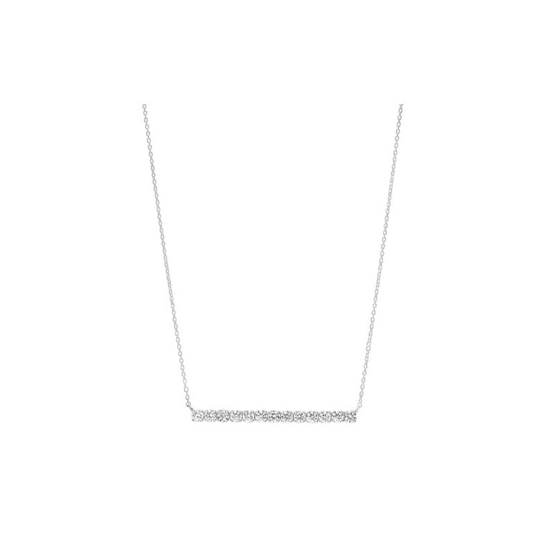 Gems One Diamond Bar Pendant Layer Necklace in 14k White Gold (½ ctw)