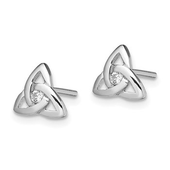 Sterling Silver Rhodium-plated CZ Trinity Post Earrings