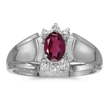 10k White Gold Oval Rhodolite Garnet And Diamond Ring