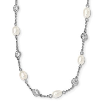 Cheryl M Sterling Silver Rhod Plated CZ & FWC Pearl Station 36in Necklace