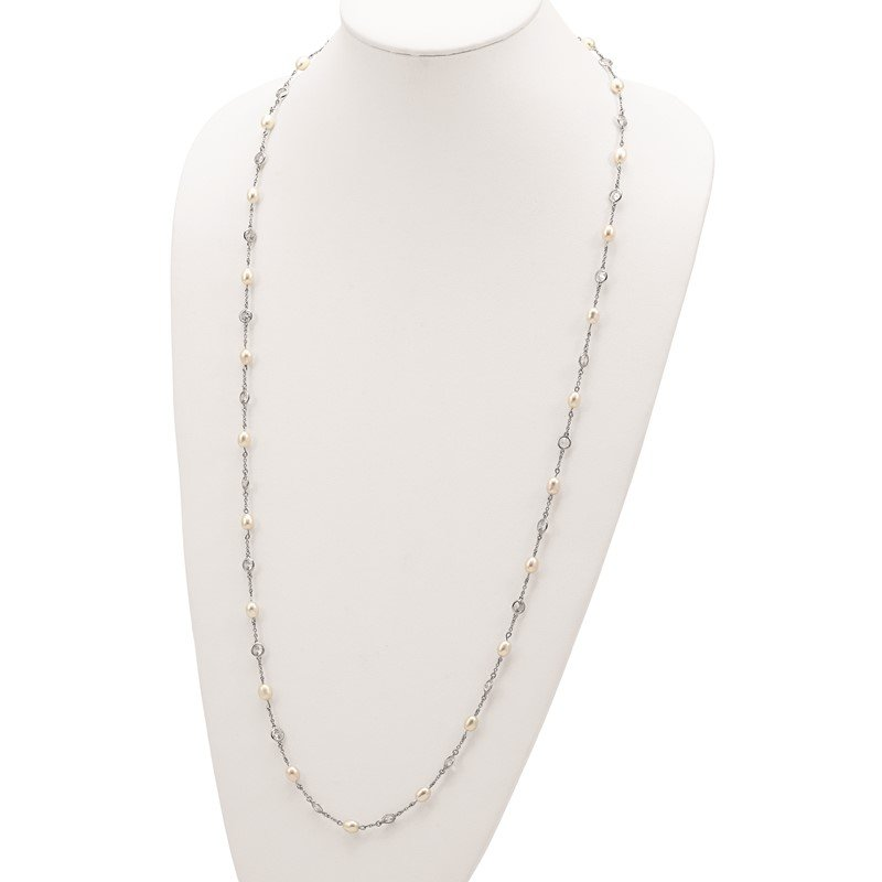 Cheryl M Cheryl M Sterling Silver Rhod Plated CZ & FWC Pearl Station 36in Necklace