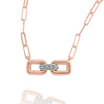 14k Gold and Diamond Double Link Necklace