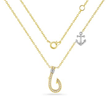 14K fish hook necklace with anchor detail on chain 23 diamonds 0.10ct 17mm long