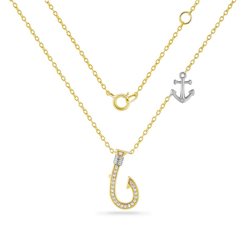 Shula NY 14K fish hook necklace with anchor detail on chain 23 diamonds 0.10ct 17mm long
