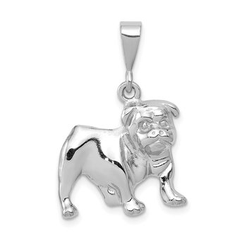 14k White Gold Bulldog Pendant