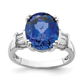 Sterling Silver Rhodium-plated Created Blue Sapphire & CZ Baguette Ring