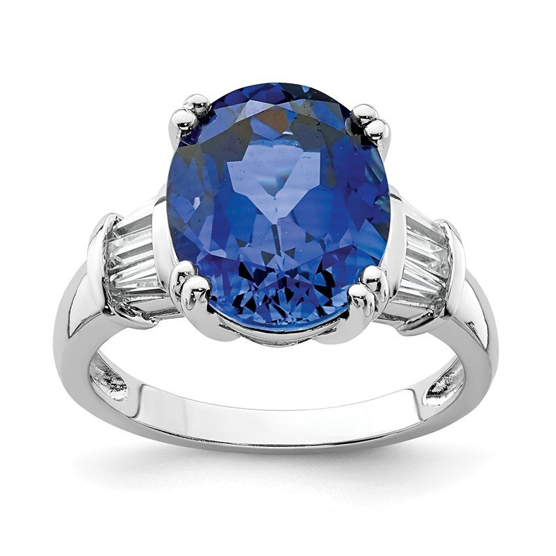 Quality Gold Sterling Silver Rhodium-plated Created Blue Sapphire & CZ Baguette Ring