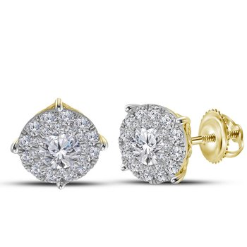 14kt Yellow Gold Womens Round Diamond Cluster Earrings 2.00 Cttw